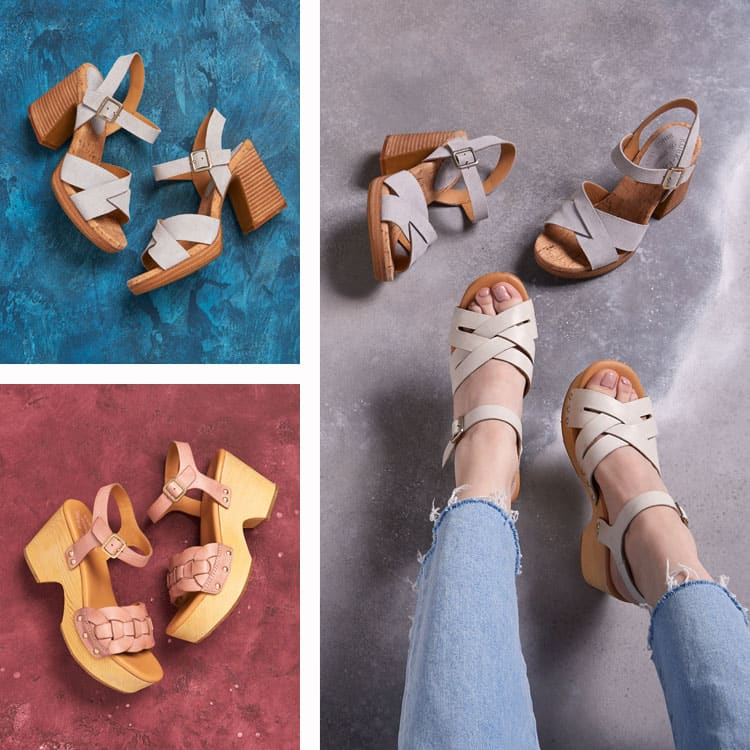 Featured styles: Walda sandal in bronze, Kristjana sandal in White, Walda sandal in pink, Wausau sandal in white